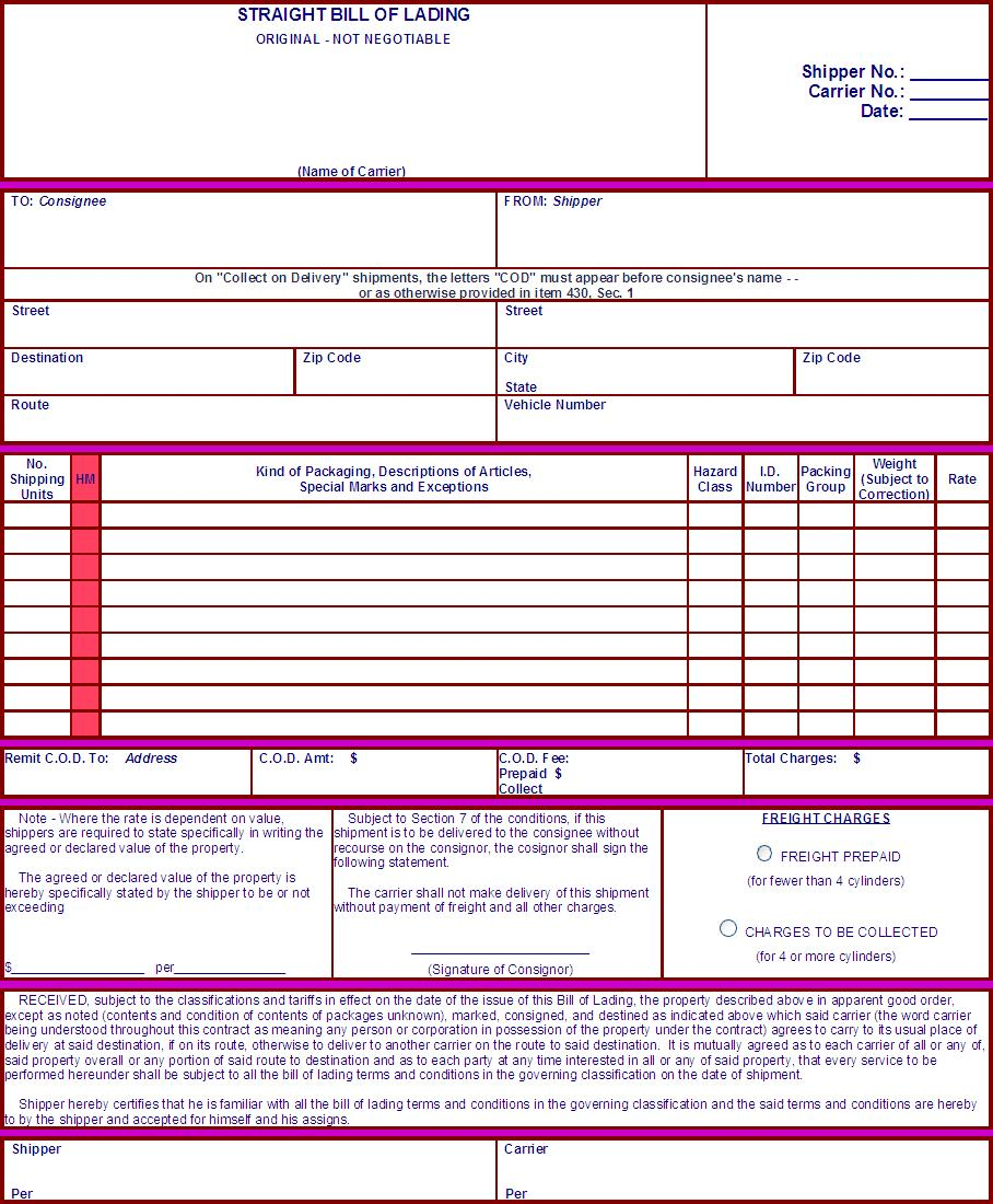 Bill Of Lading Manifest Straight Bill Of Lading